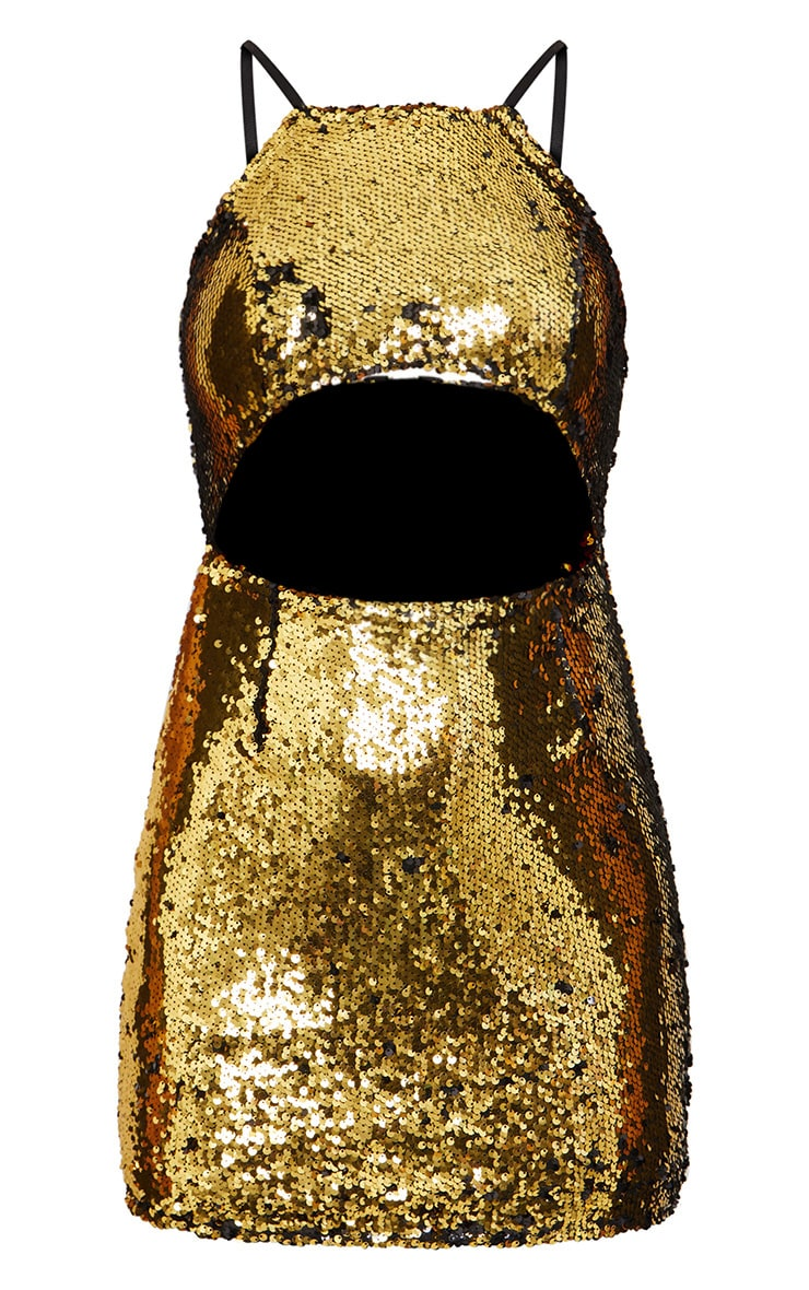 Gold Sequin Cut Out Bodycon Dress 3