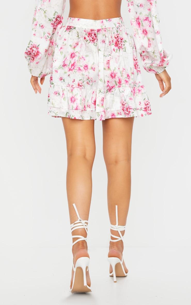 Mini-jupe taille haute à imprimé floral rose et volants 3