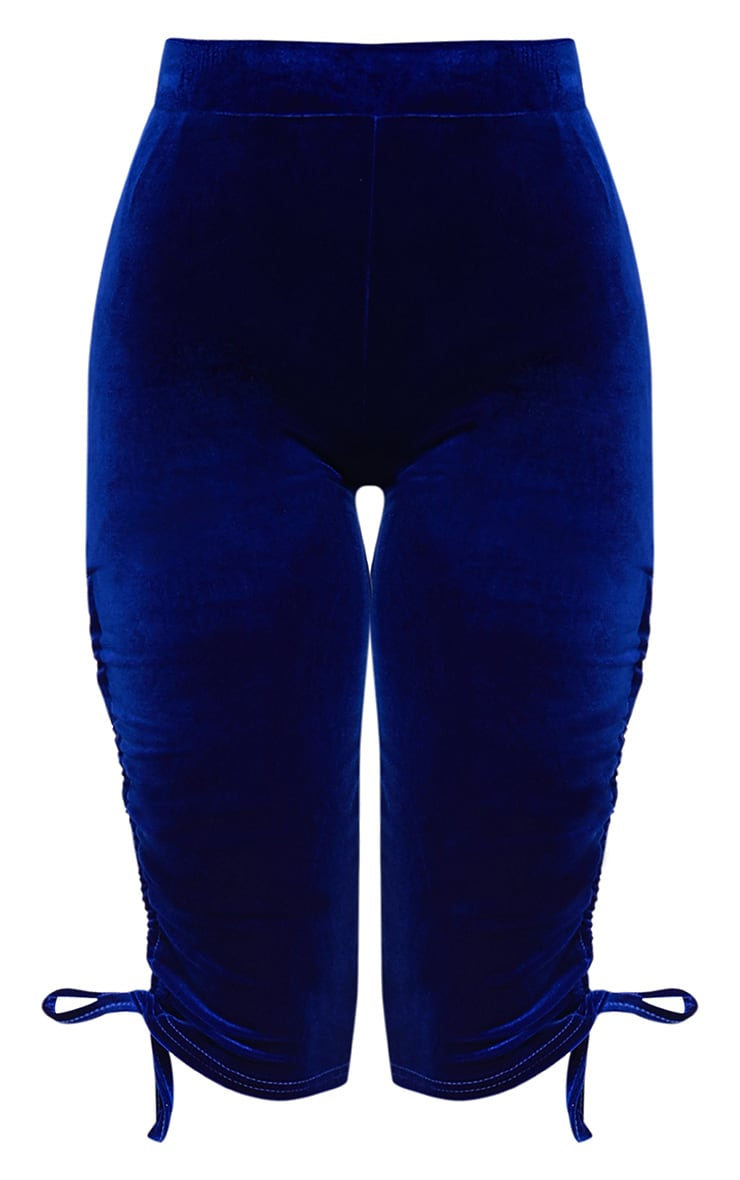 Armide Cobalt Velvet Ruched Cycle Shorts 3