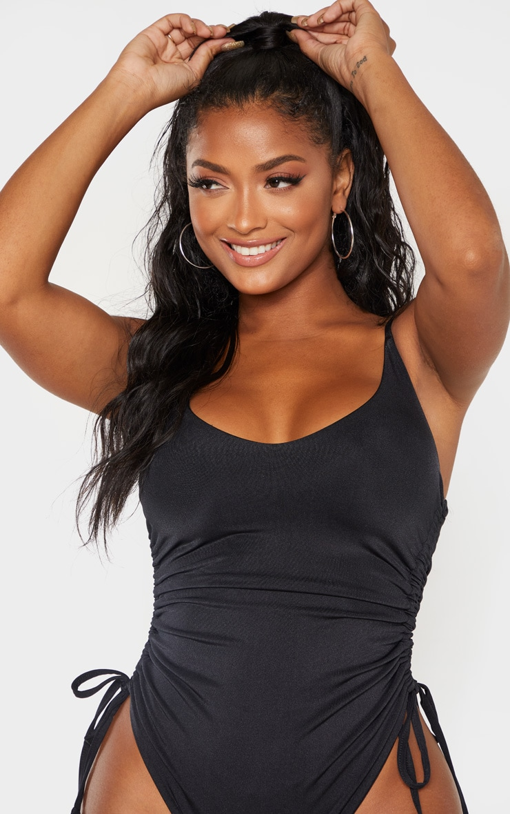 Shape Black Ruched Side High Rise Swimsuit 4