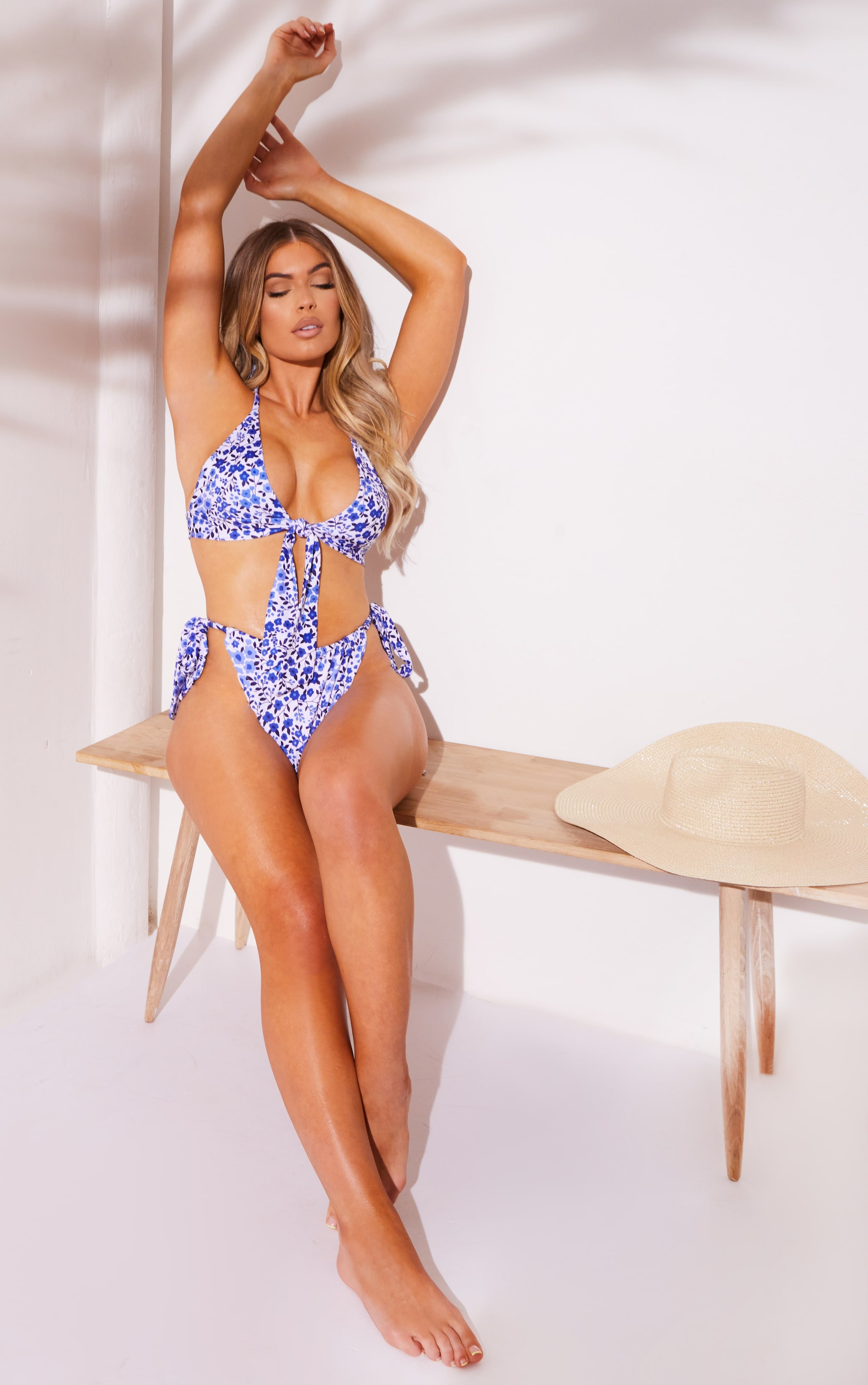 Blue Bow Floral Front Triangle Bikini Top 3