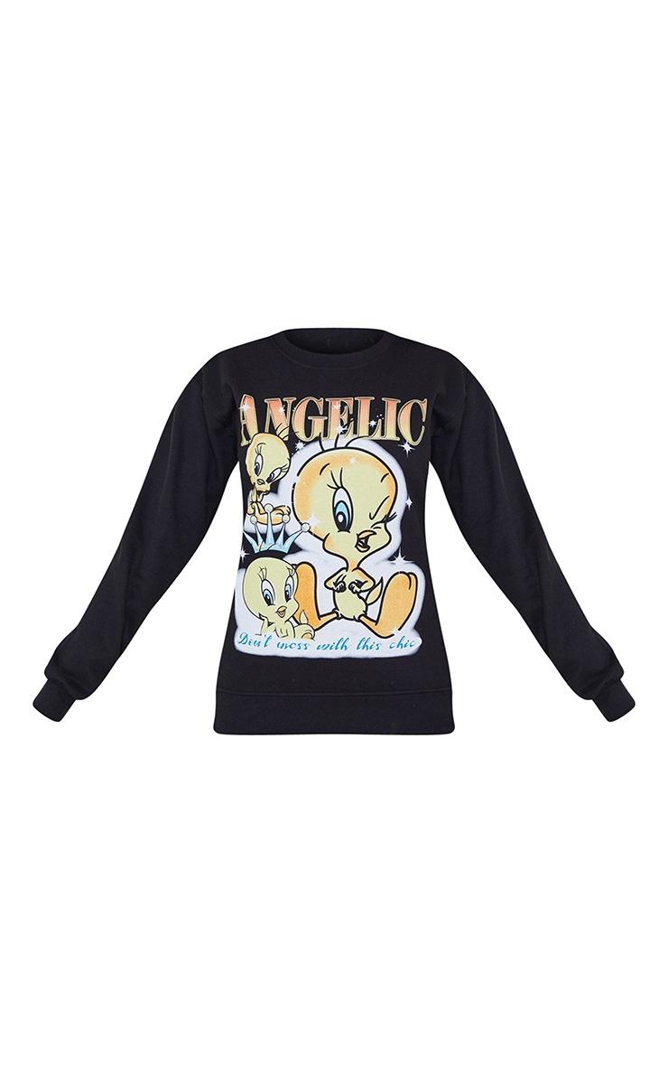 Sweat noir imprimé Titi Angelic 5
