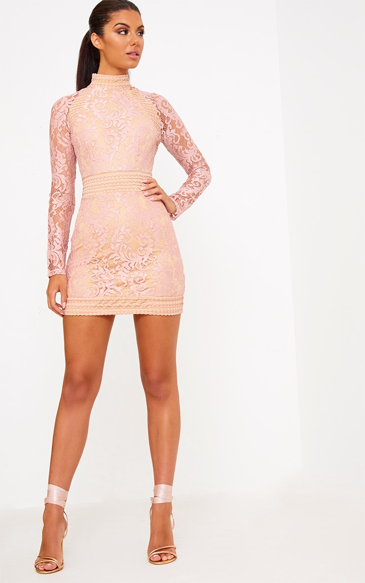 Dusty Pink Lace High Neck Bodycon Dress 4