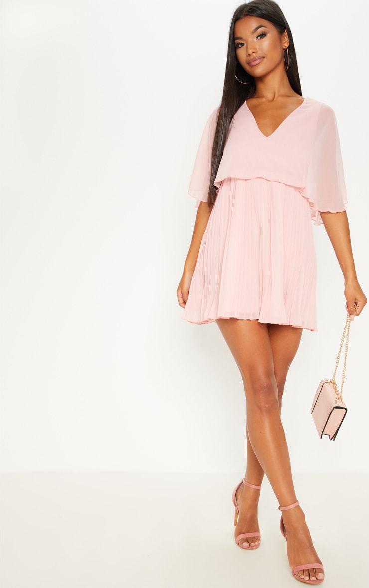 Dusty Pink Cape Pleated Detail Skater Dress 1