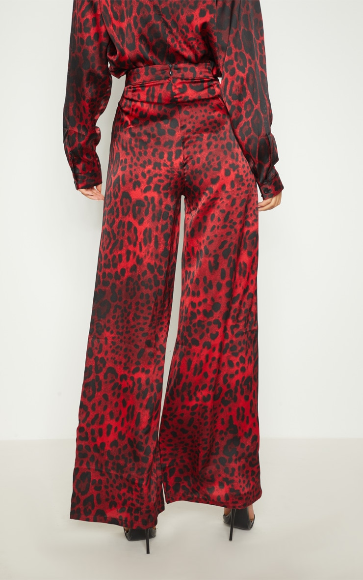 Red Satin Leopard Print Side Binding Wide Leg Trouser 3