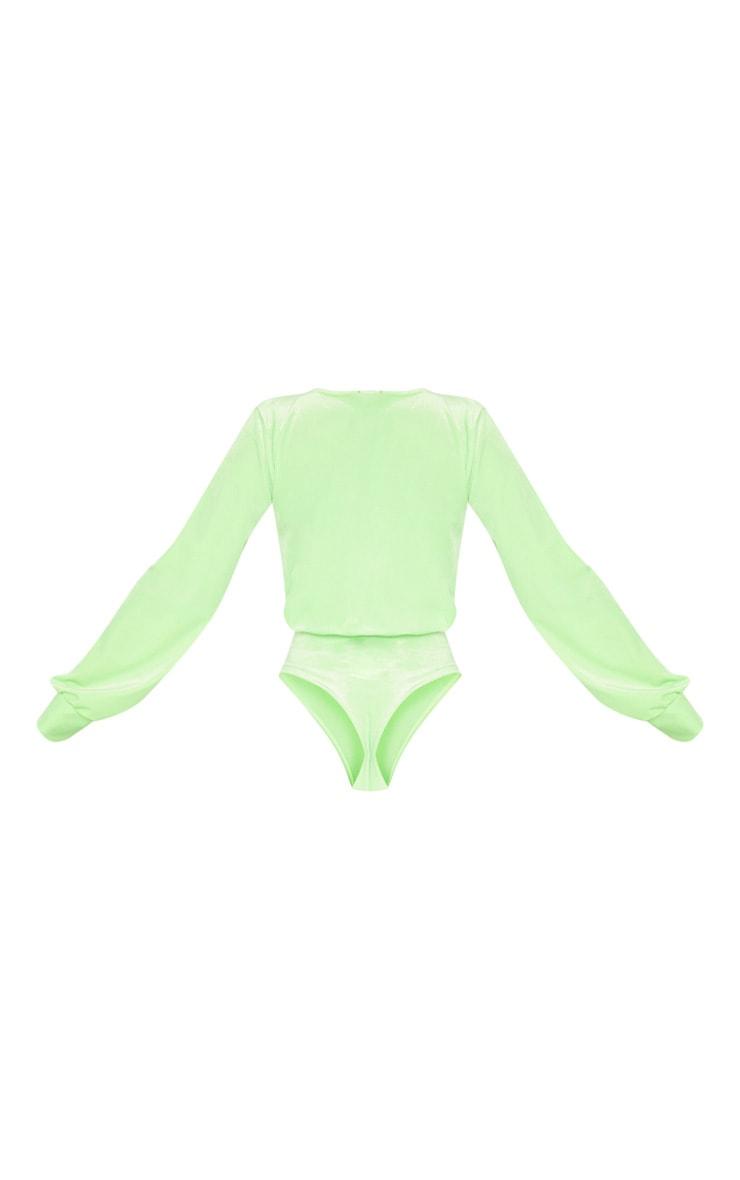 Neon Lime Velvet Plunge Bodysuit 4