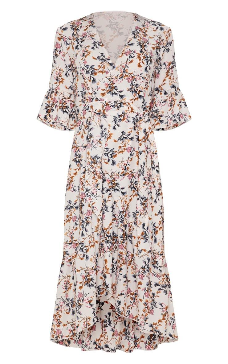 Pink Floral Print Frill Hem Midi Tea Dress 3