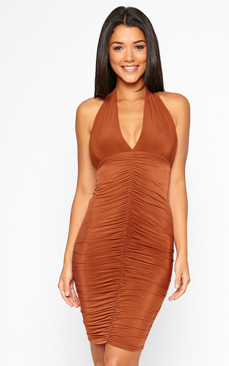 Lucienne Rust Plunge Ruched Front Dress 1