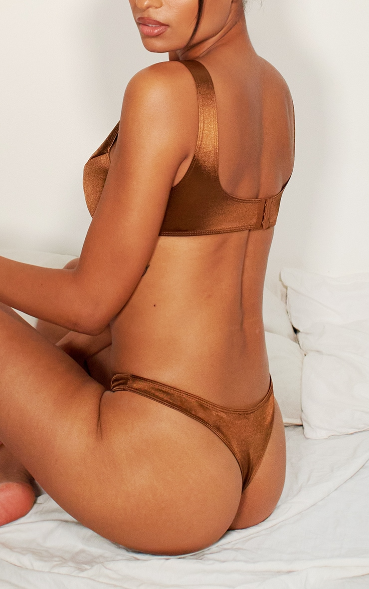 Chocolate Satin Thong 3