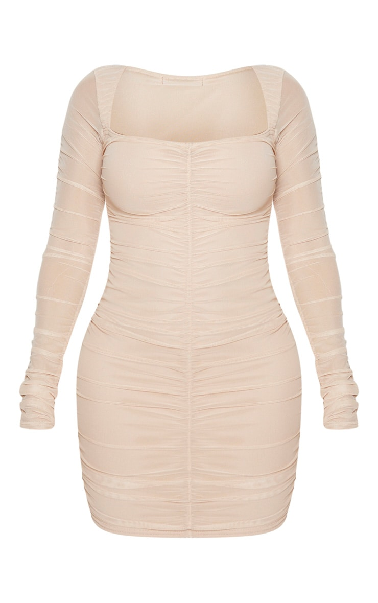 Shape Nude Mesh Square Neck Ruched Bodycon Dress 5