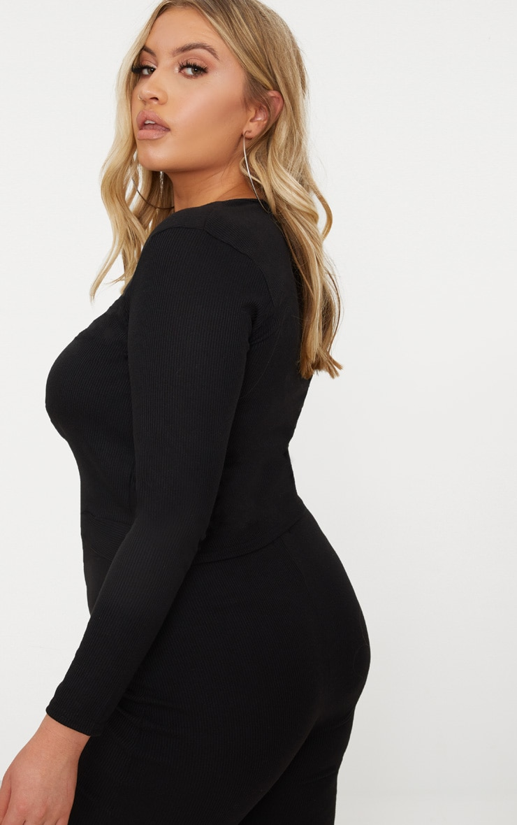 Plus Black Ribbed Knot Front Crop Top 2