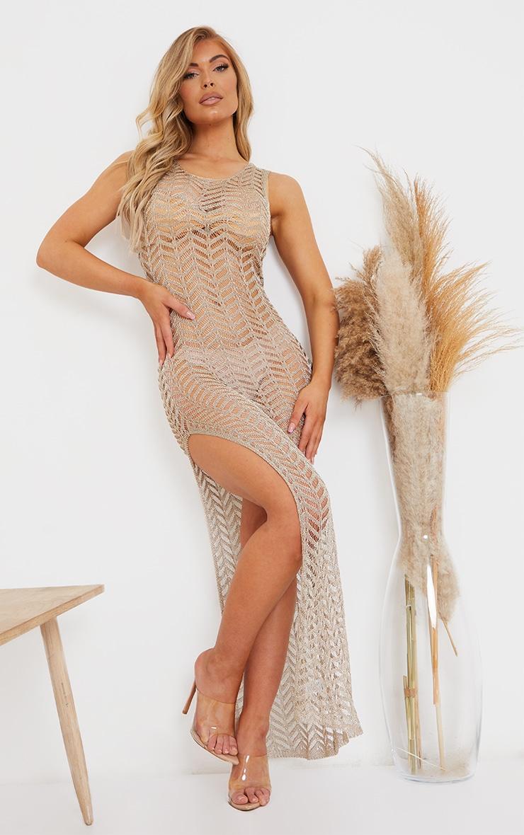 Gold Metallic Chevron Side Split Maxi Dress 1