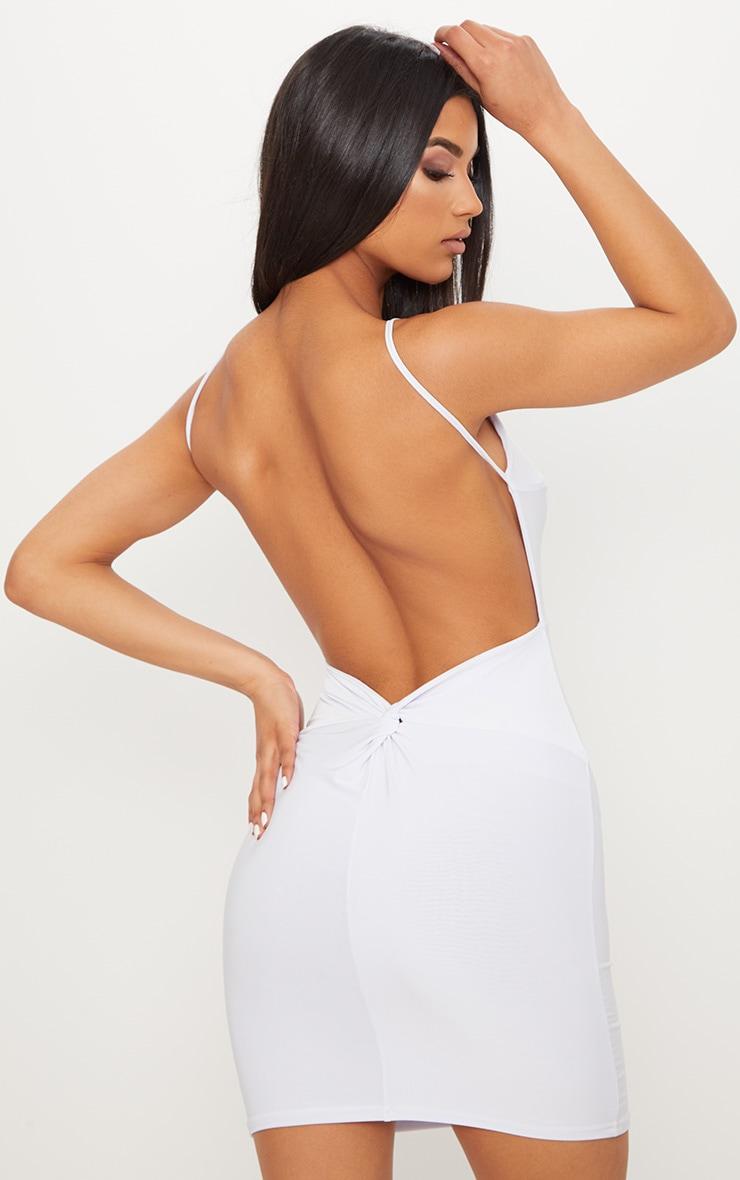 White Double Layer Slinky Halterneck Twist Low Back Detail Bodycon Dress 1