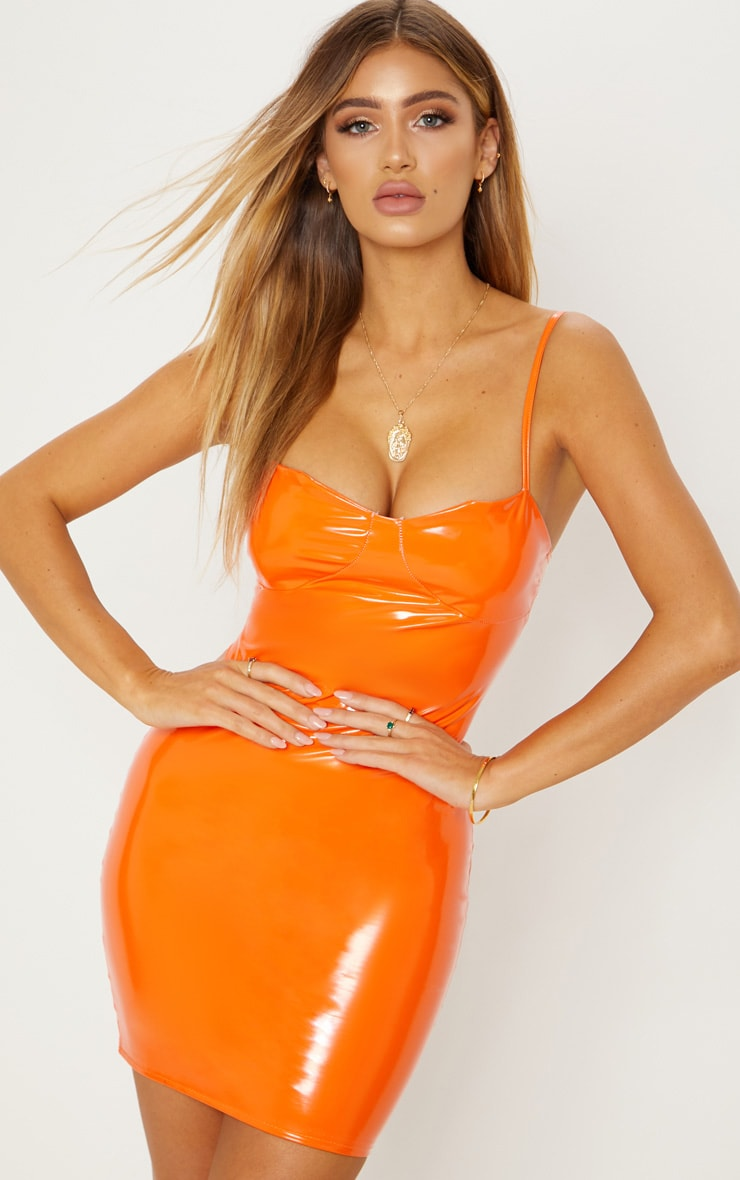 Orange Vinyl Cup Detail Bodycon Dress 2
