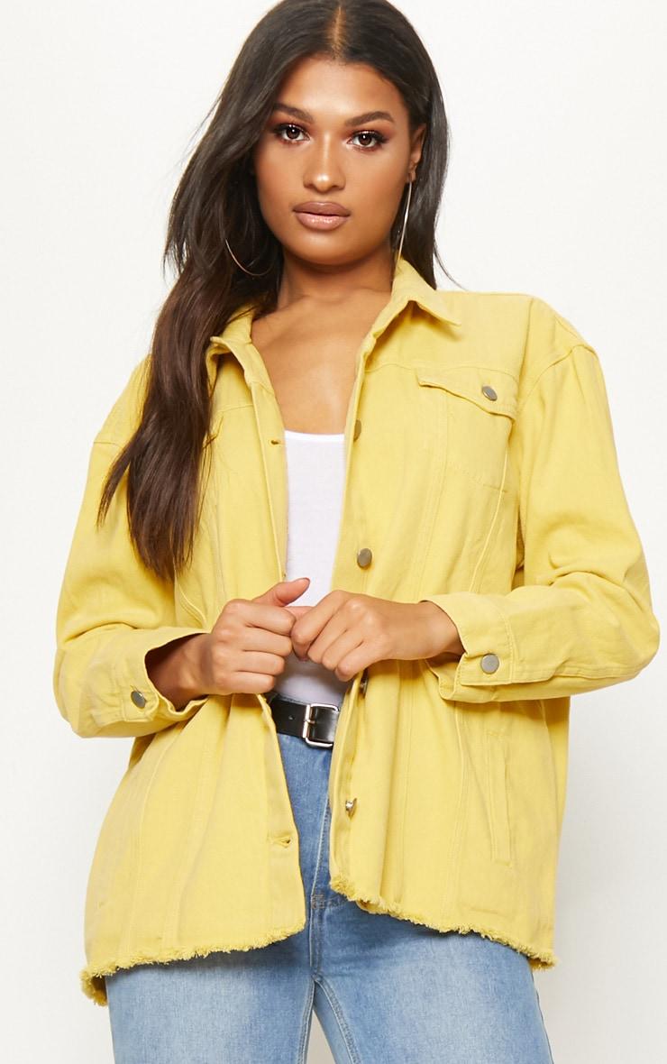 Yellow Tie Waist Oversized Denim Jacket 2