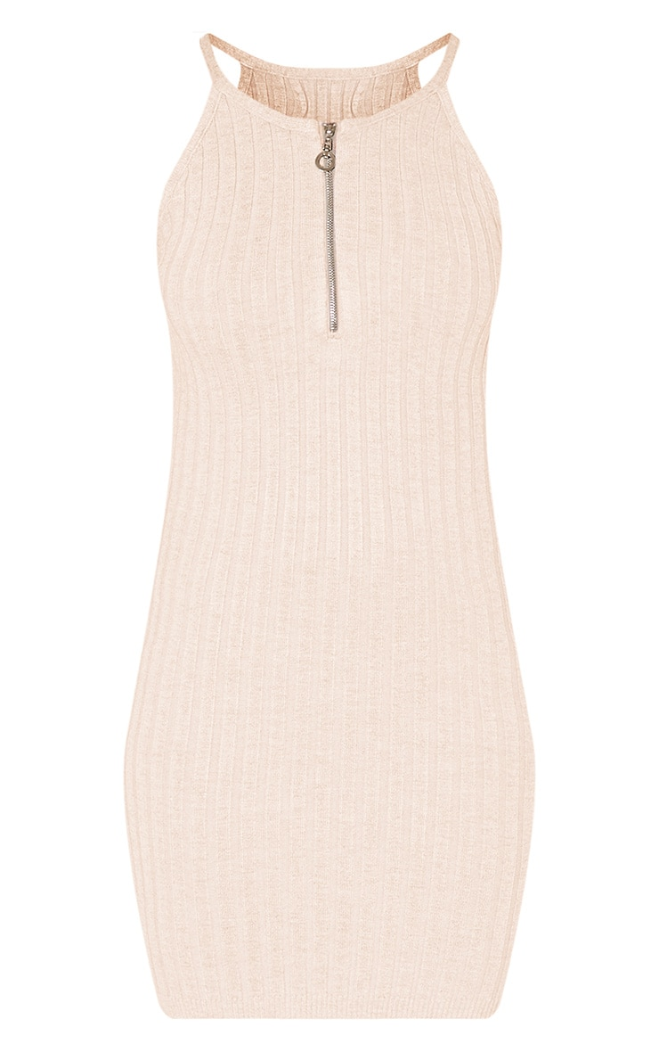 Kennedy Stone Zip Front Ribbed Knitted Mini Dress 3
