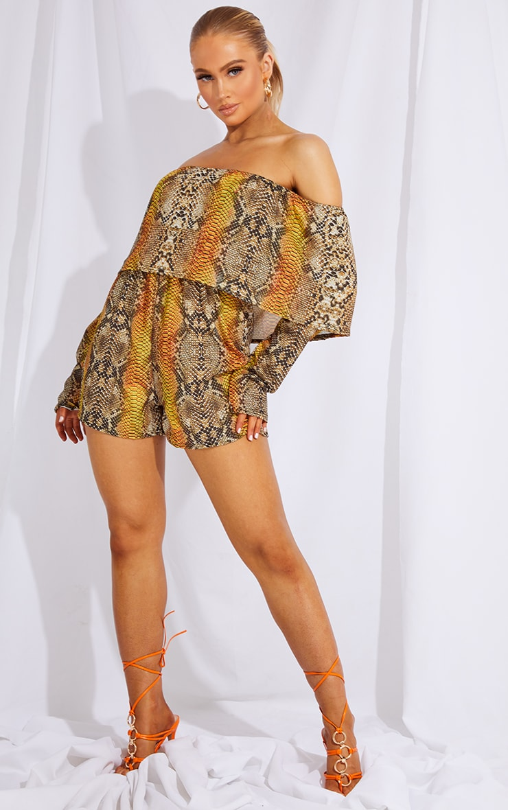 Tan Snake Print Bardot Layered Playsuit 3