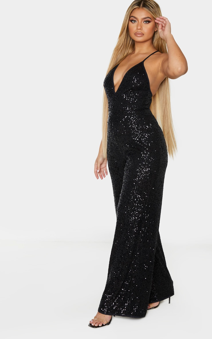 Black Strappy Sequin Plunge Jumpsuit 3