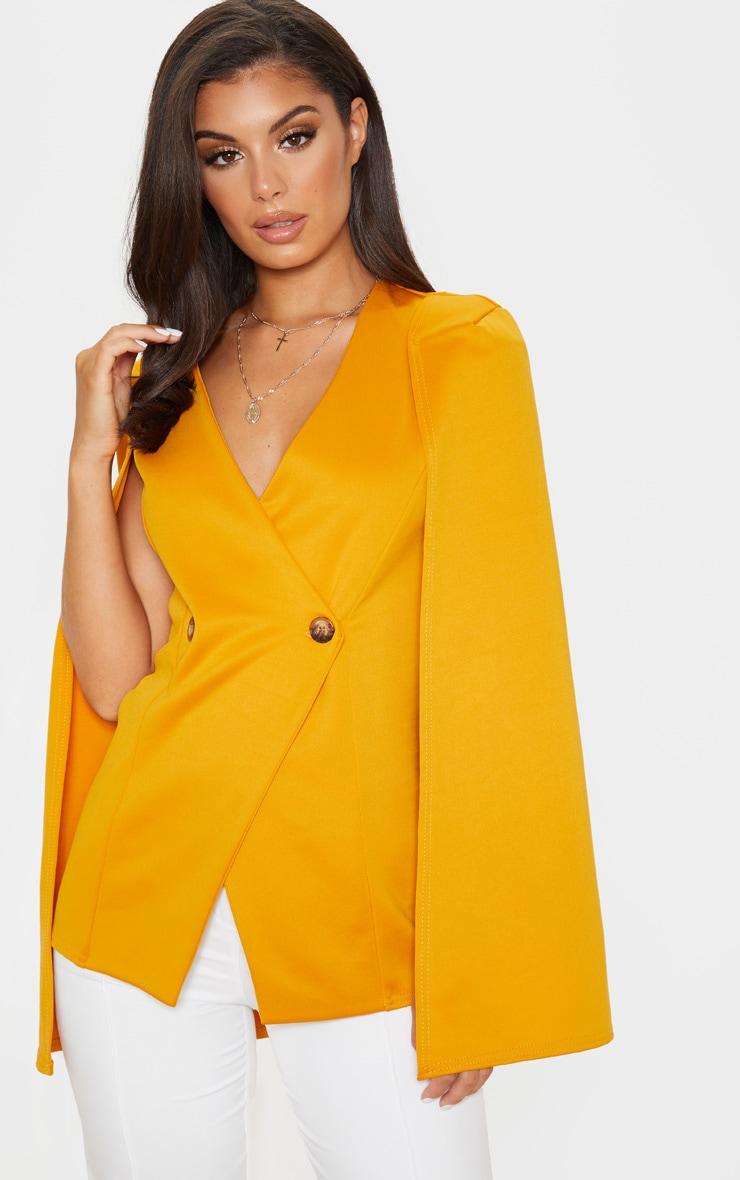 Mustard Button Front Cape Blazer  1