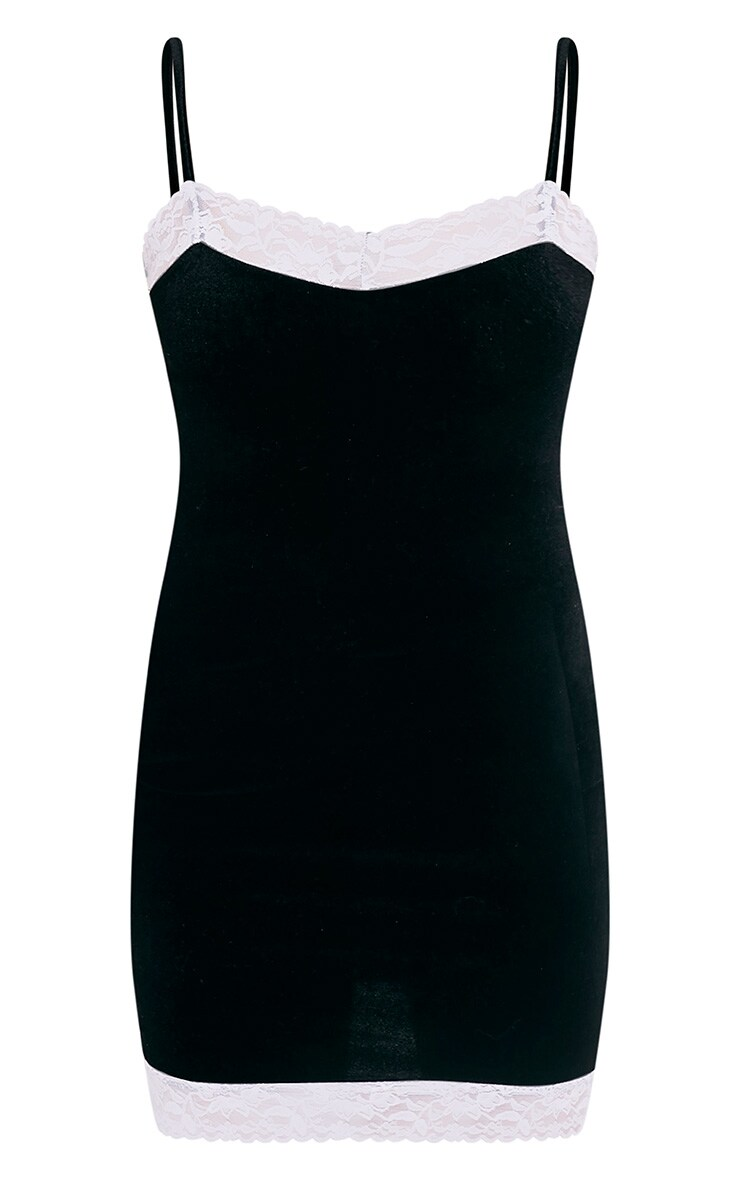 Kasshia Black Velvet Lace Trim Bodycon Dress 3