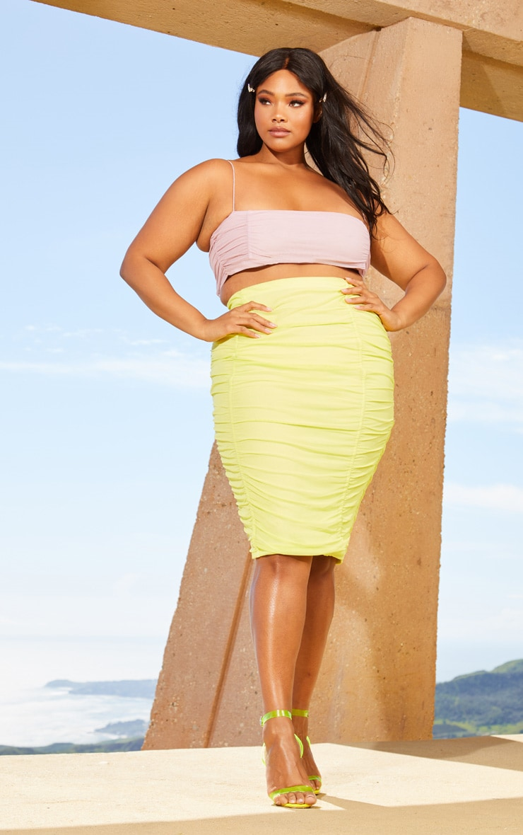 Plus Lime Second Skin Ruched Mesh Midi Skirt 1
