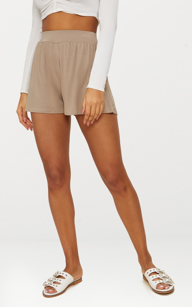 Lucilla Taupe Jersey Floaty Shorts 2