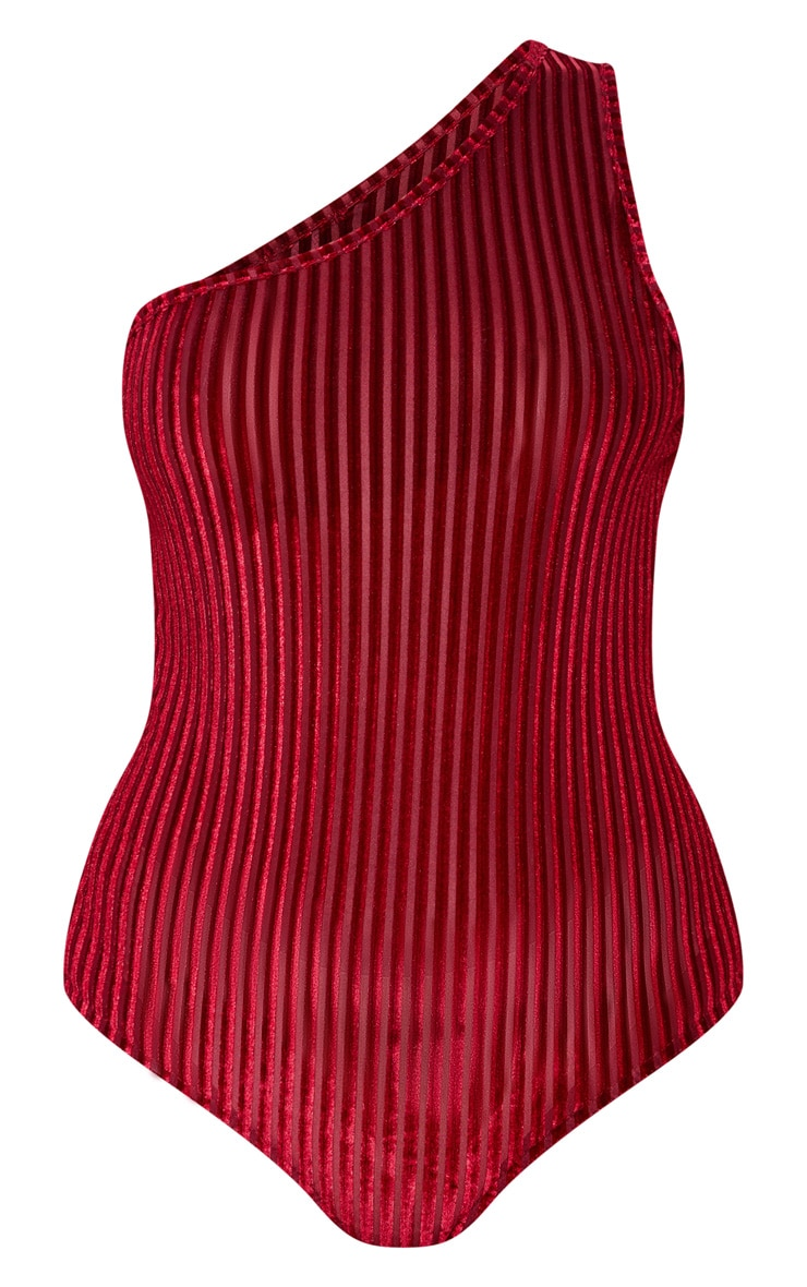 Wine Velvet Stripe One Shoulder Bodysuit 3