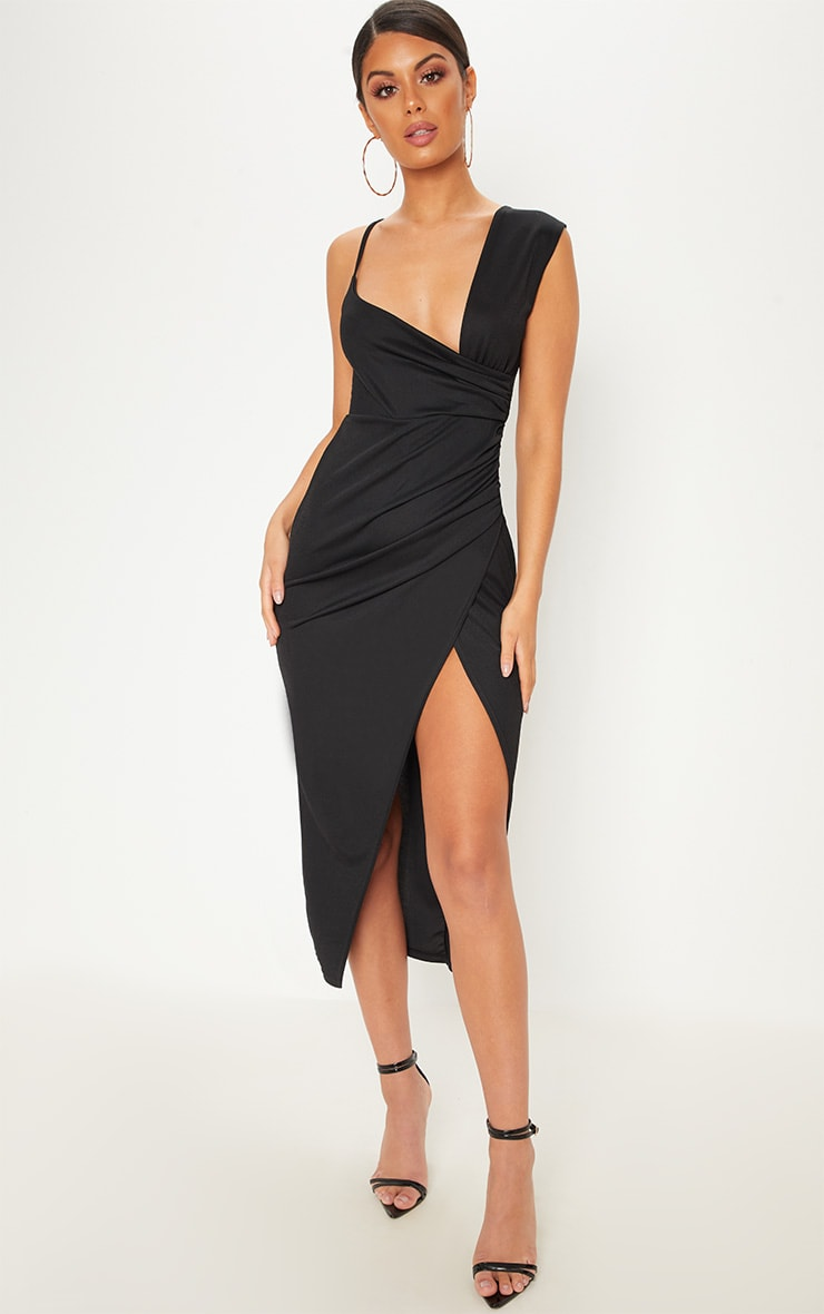 Black Asymmetric Sleeve Ruched Midi Dress 1