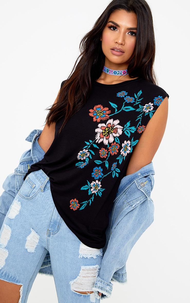 Black Floral Puff Print Vest 1
