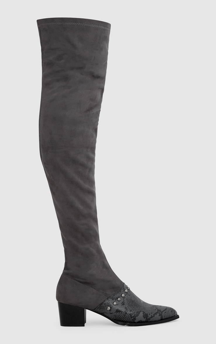 Grey Studded Contrast PU Over The Knee Boots 2