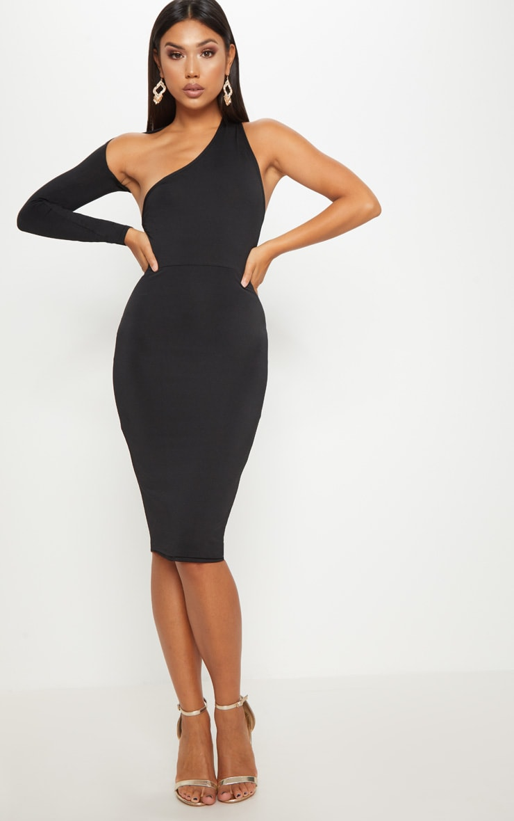 14a9f6a92577 Black Disco Slinky One Shoulder Midi Dress image 1