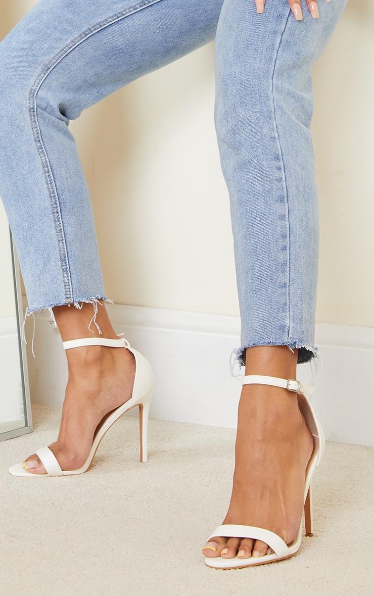 White Wide Fit Clover Single Strap Heeled Sandal 1