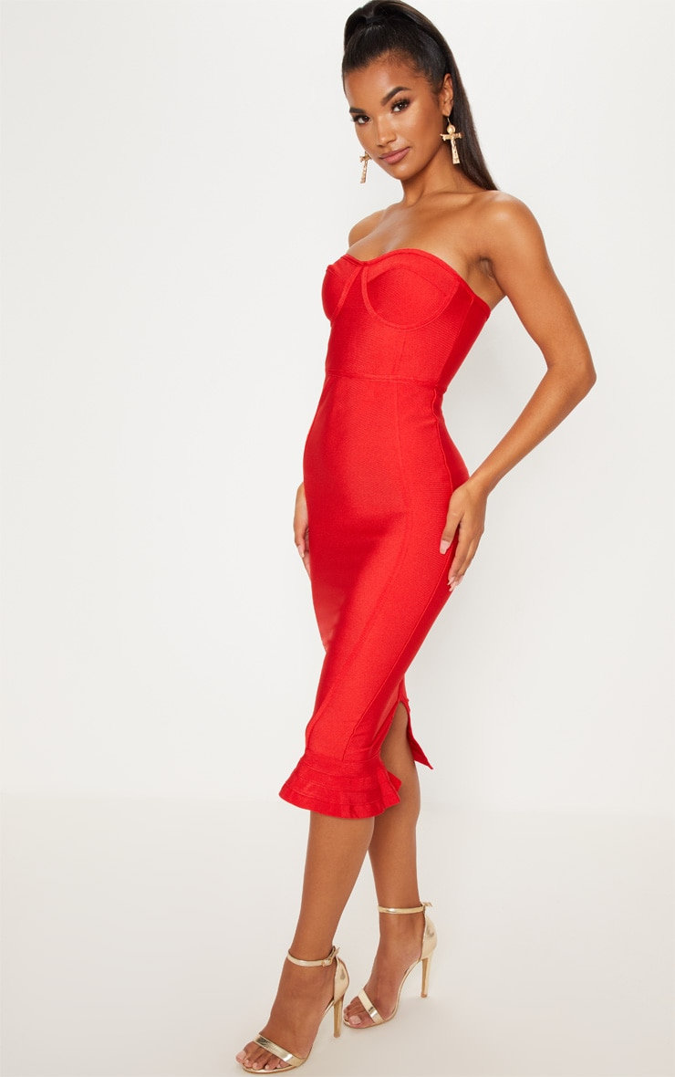 Red Frill Hem Bandage Midi Dress 4