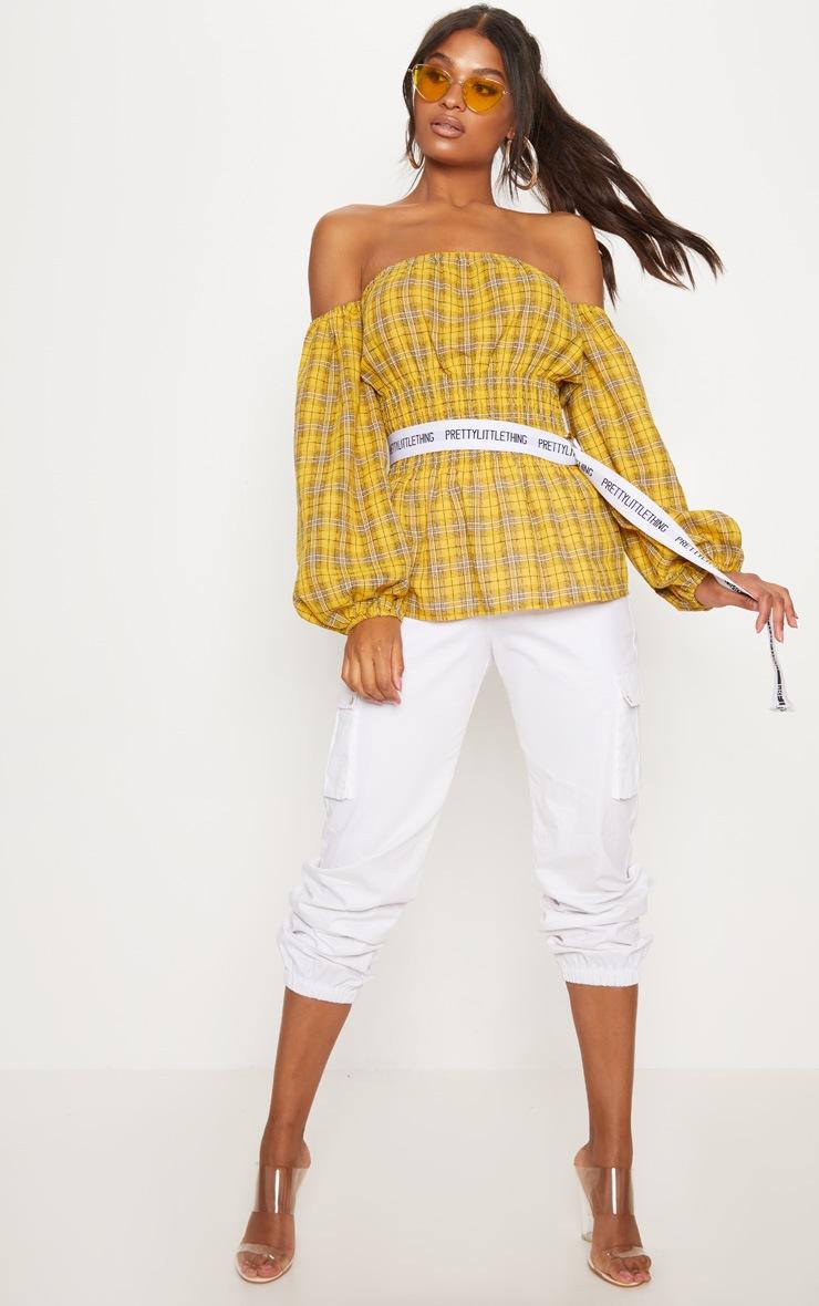 Mustard Check Shirred Detail Long Sleeve Bardot Top 4