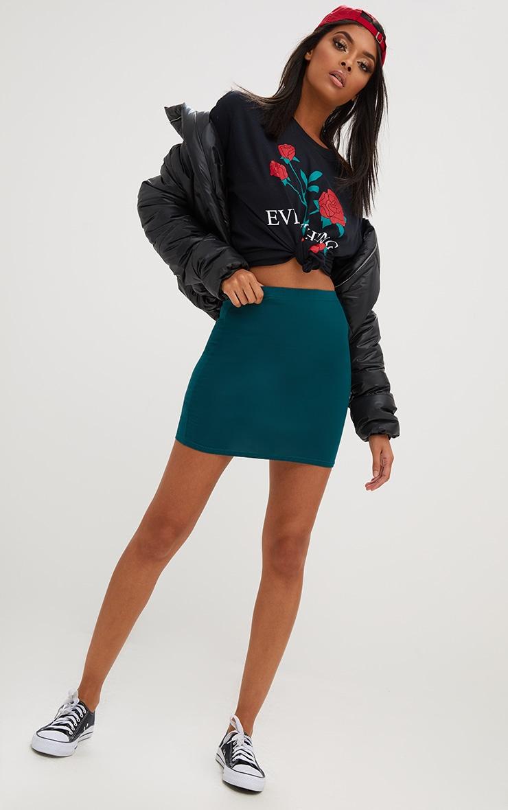 Forest Green Basic Mini Skirt 5