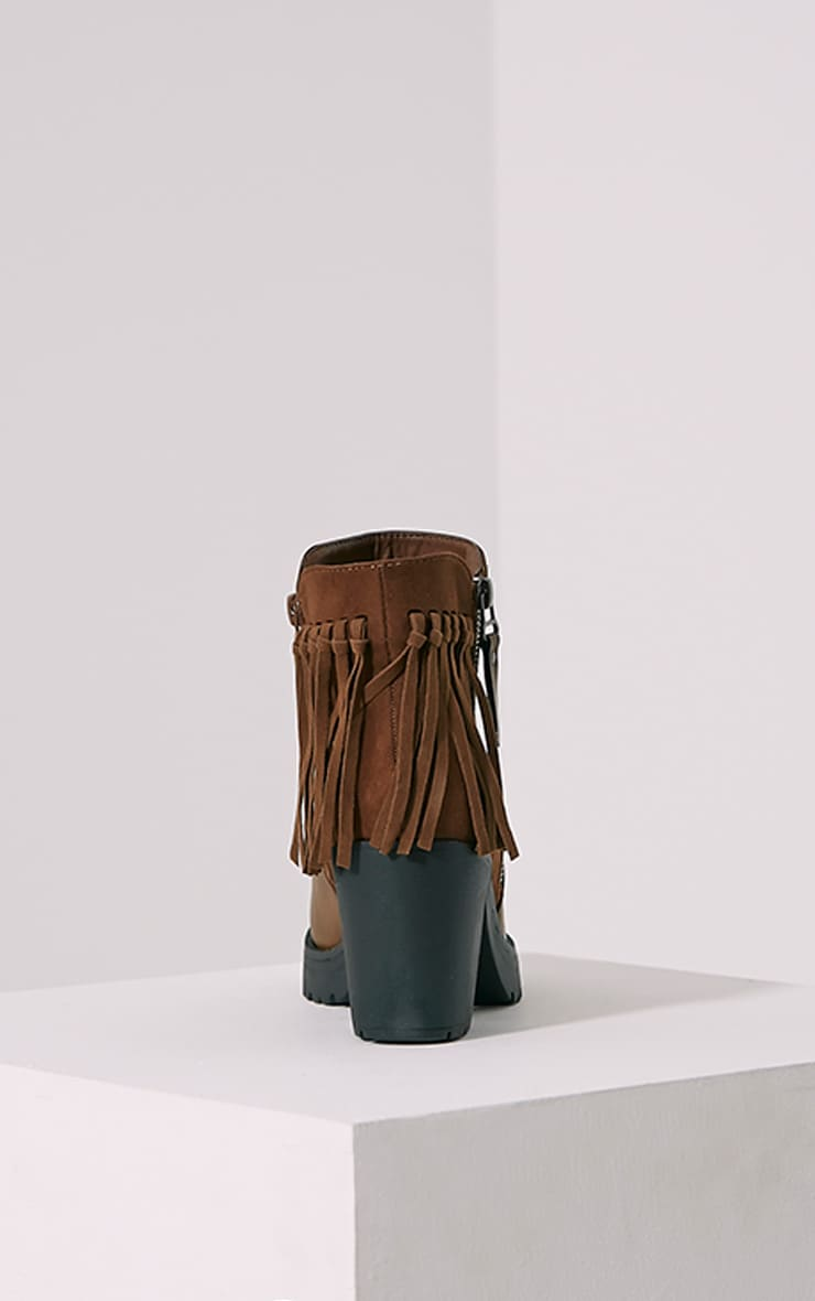 Juana Brown Chunky Tassel Ankle Boots 5