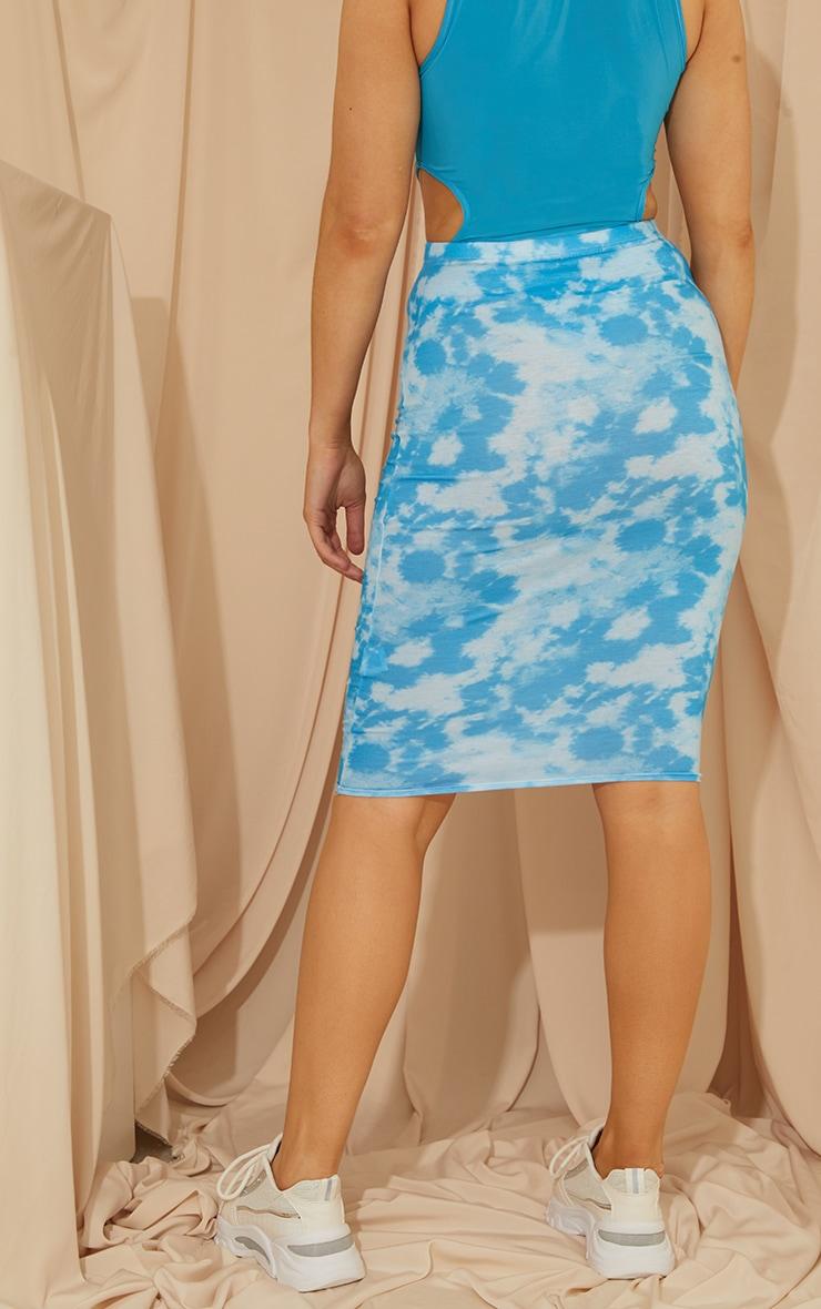 Blue Tie Dye Basic Midi Skirt 3