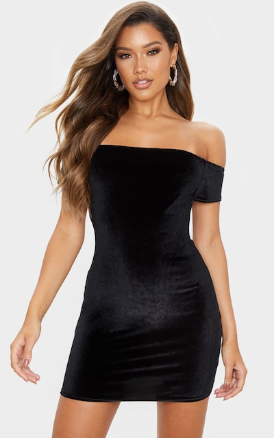 Black Velvet Short Sleeve Bardot Bodycon Dress