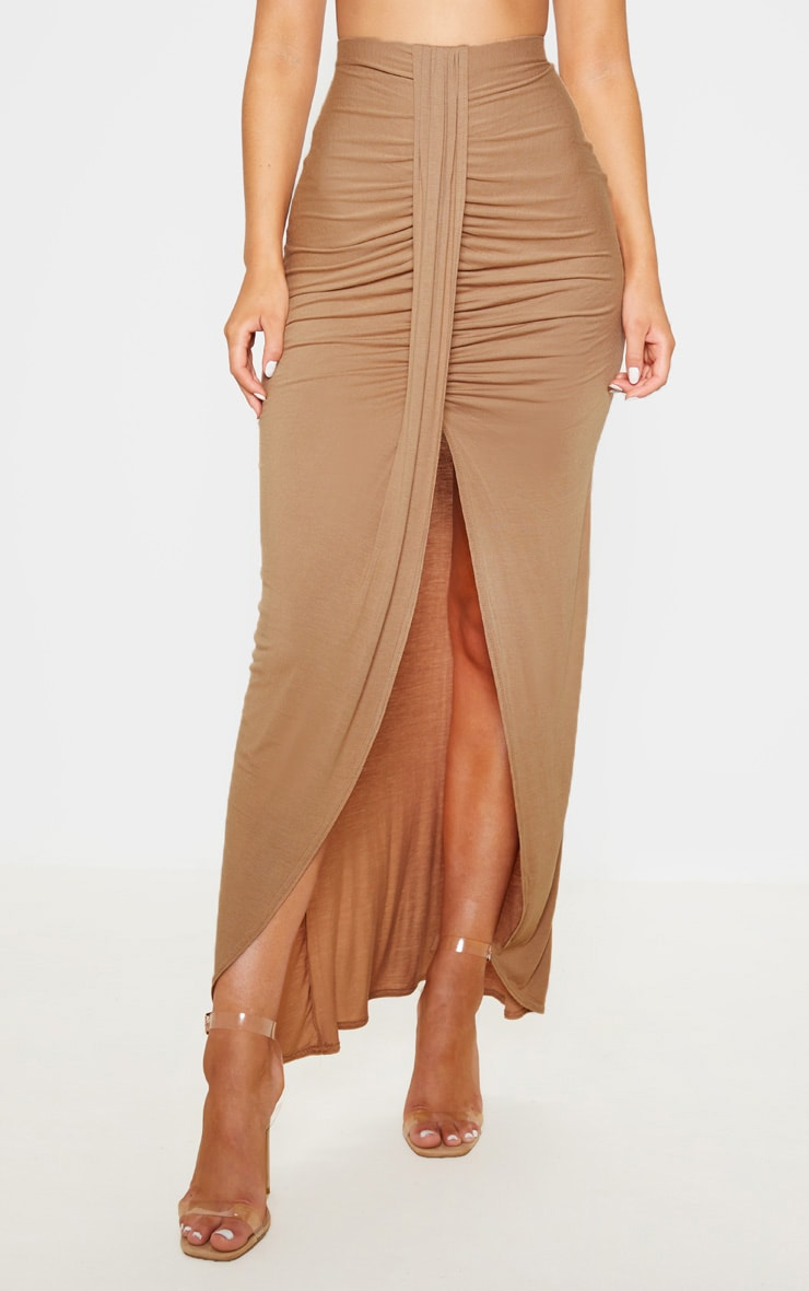 Camel Jersey Drape Front Maxi Skirt  2