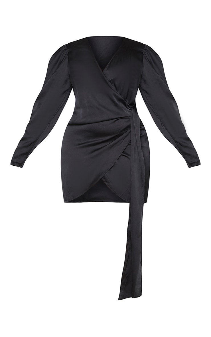 Plus Black Satin Puff Sleeve Wrap Dress 5