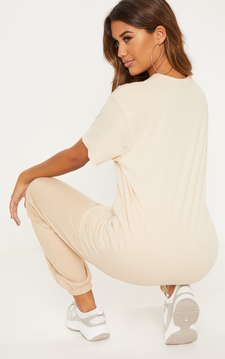 PRETTYLITTLETHING Cream Oversized T Shirt 2