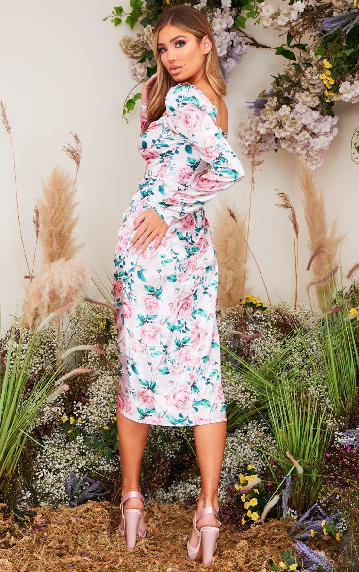 Pink Rose Print Twist Front Ruched Skirt Midi Dress 2