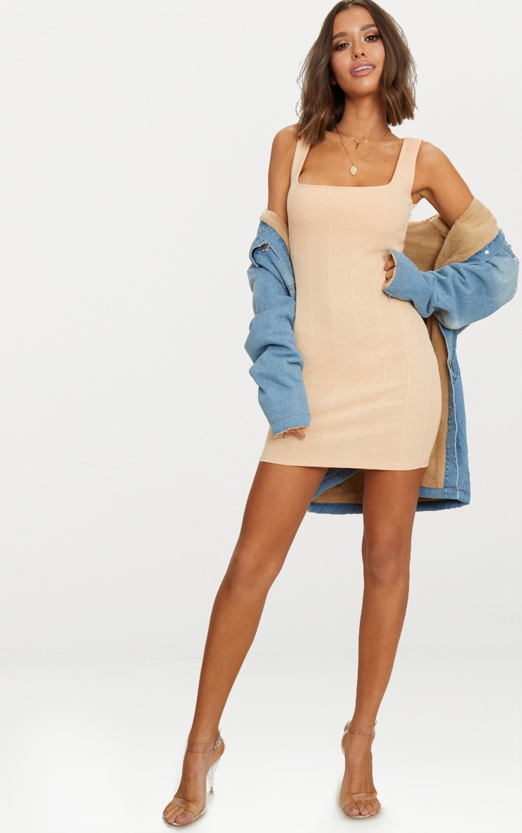 Nude Bandage Square Neck Bodycon Dress  4