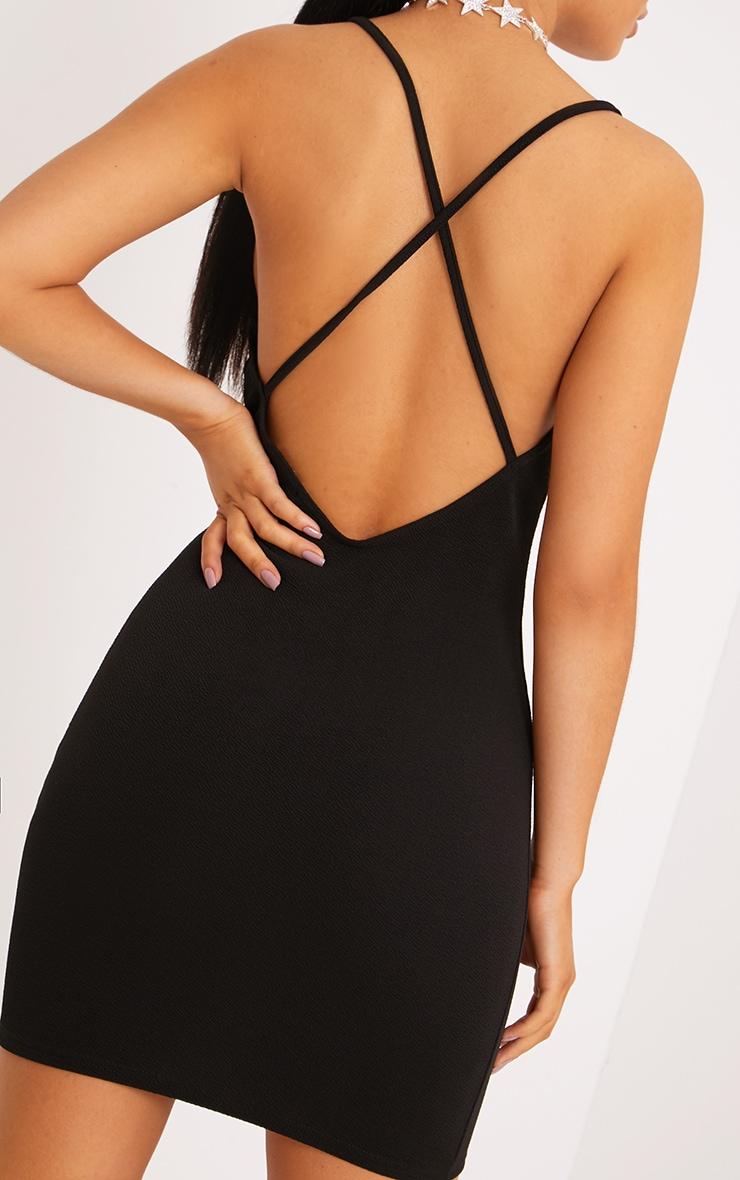 Demia Black Strappy Cross Back Bodycon Dress 4
