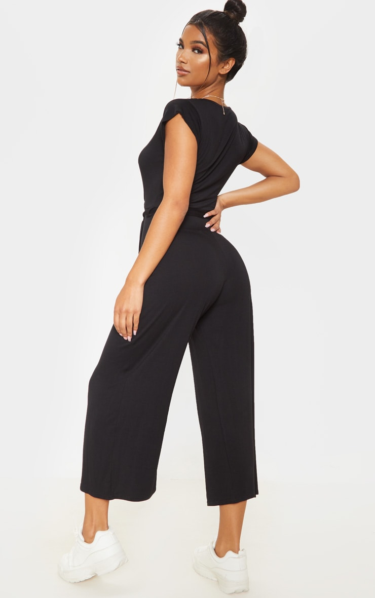 Black Wrap Culotte Jumpsuit 2