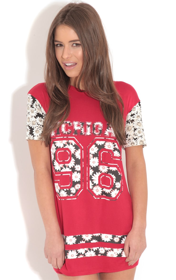 Ella Red Floral Print 'Michigan' Baseball Tee 4