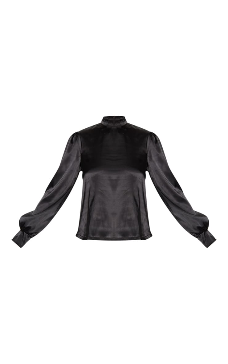 Black Satin High Neck Puff Sleeve Top 3