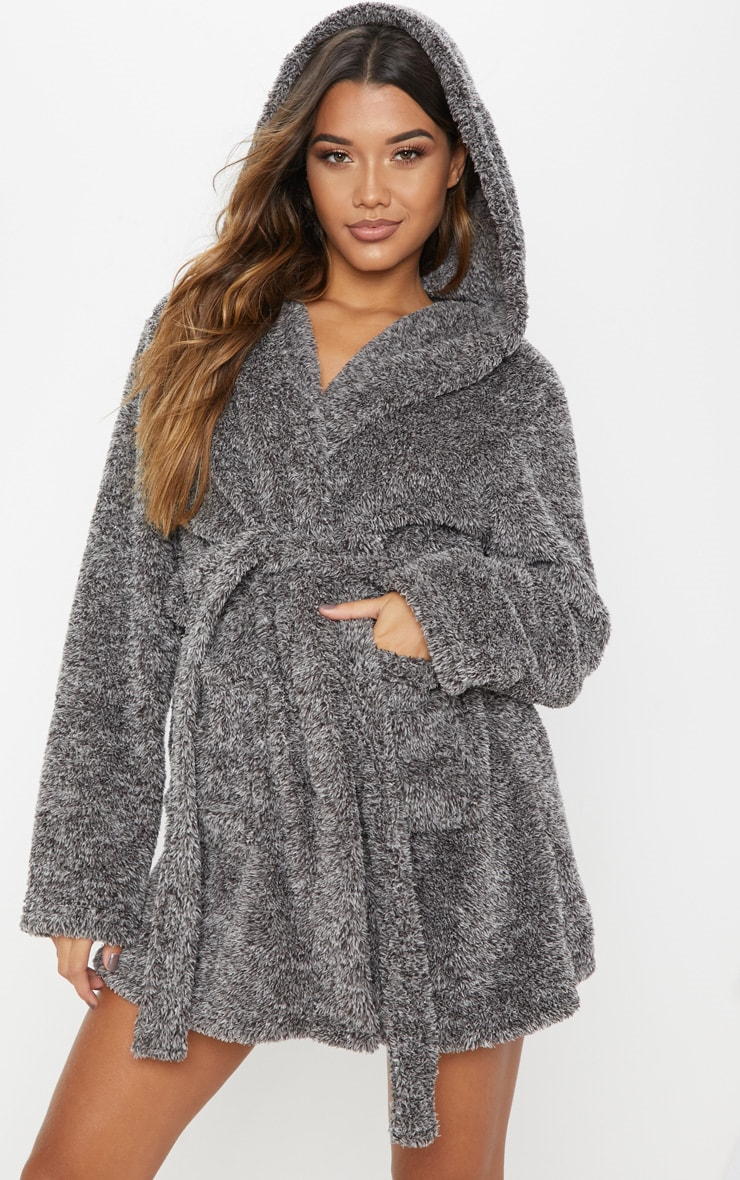 PRETTYLITTLETHING Charcoal Fluffy Dressing Gown 2