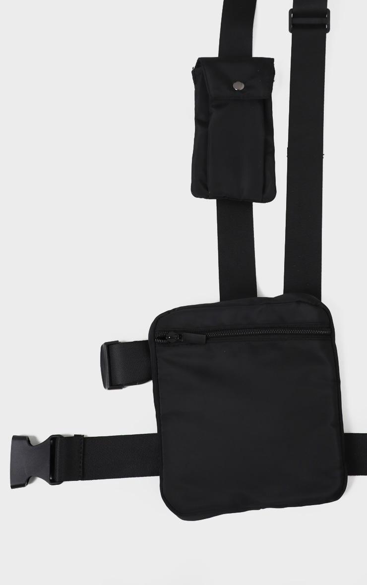 Black Nylon Square Double Pouch Harness Bag 2