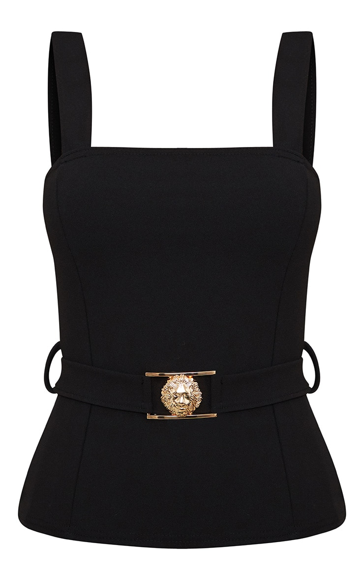 Black Lion Clasp Square Neck Military Top  3